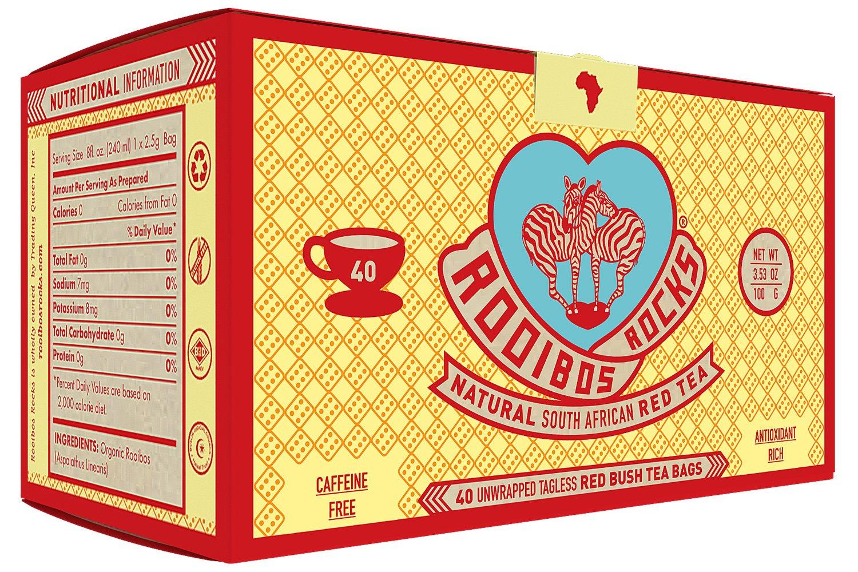 Rooibos Tea Organic Tagless Teabags - 40 South African Red Bush Herbal Tea Bags, By Rooibos Rocks (40ct)