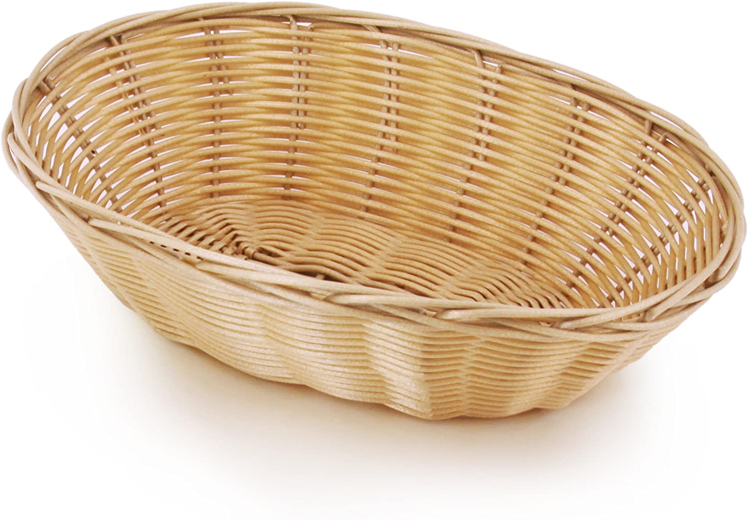 New Star Foodservice 44225 Food Serving Baskets 9.5 x 6.5 x 2.75 inch Oval, Hand Woven, Polypropylene, Set of 12, Natural
