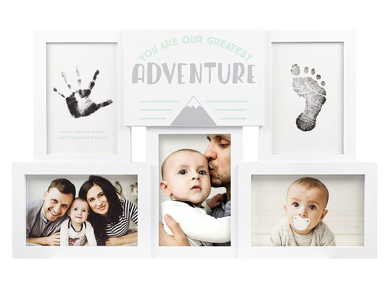 White//Blue Tiny Ideas Birthday Boy Collage Frame Keepsake with Included Inkpad for Babys Hand /& Foot Print