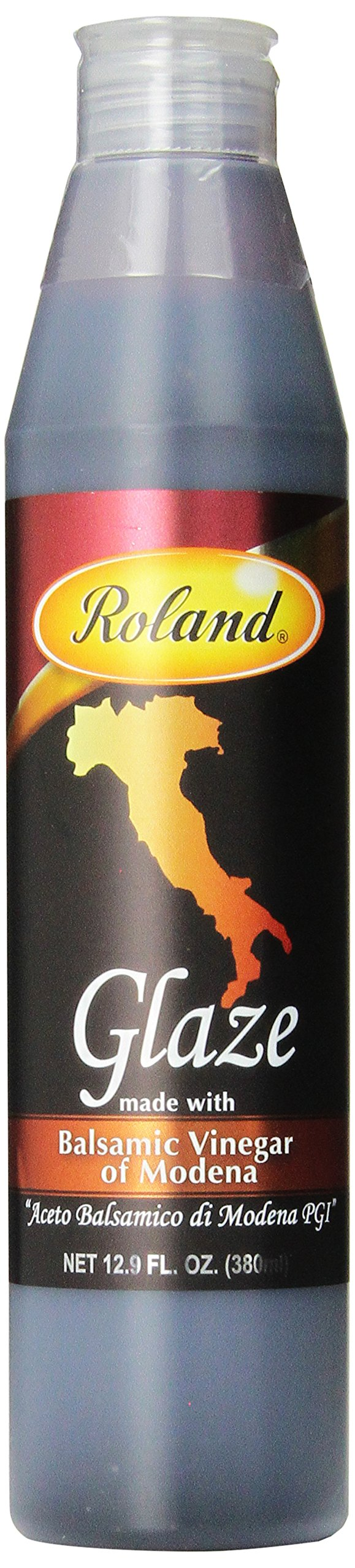 Roland Foods Balsamic Glaze, 12.9 Ounce (Pack of 2) 1 Made from fine quality balsamic vinegar from Modena, it is slowly reduced to a nicely balanced thickened sauce Consistent in flavor, texture, and color, this glaze is a time saver for all chefs Use as a garnish, for entrees, and to create attractive plate designs