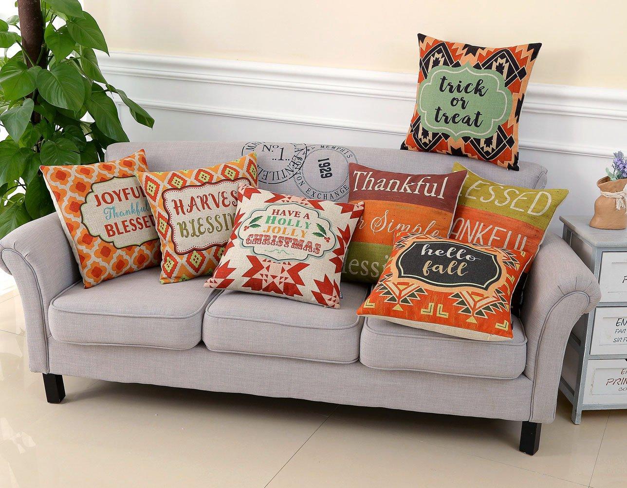 PL057TR TRENDIN 18 X 18 Vintage Colorful Board Thankful Blessing Burlap Linen Cushion Cover Pillow Case Sofa Decoration TRENDIN HOME DÉCOR