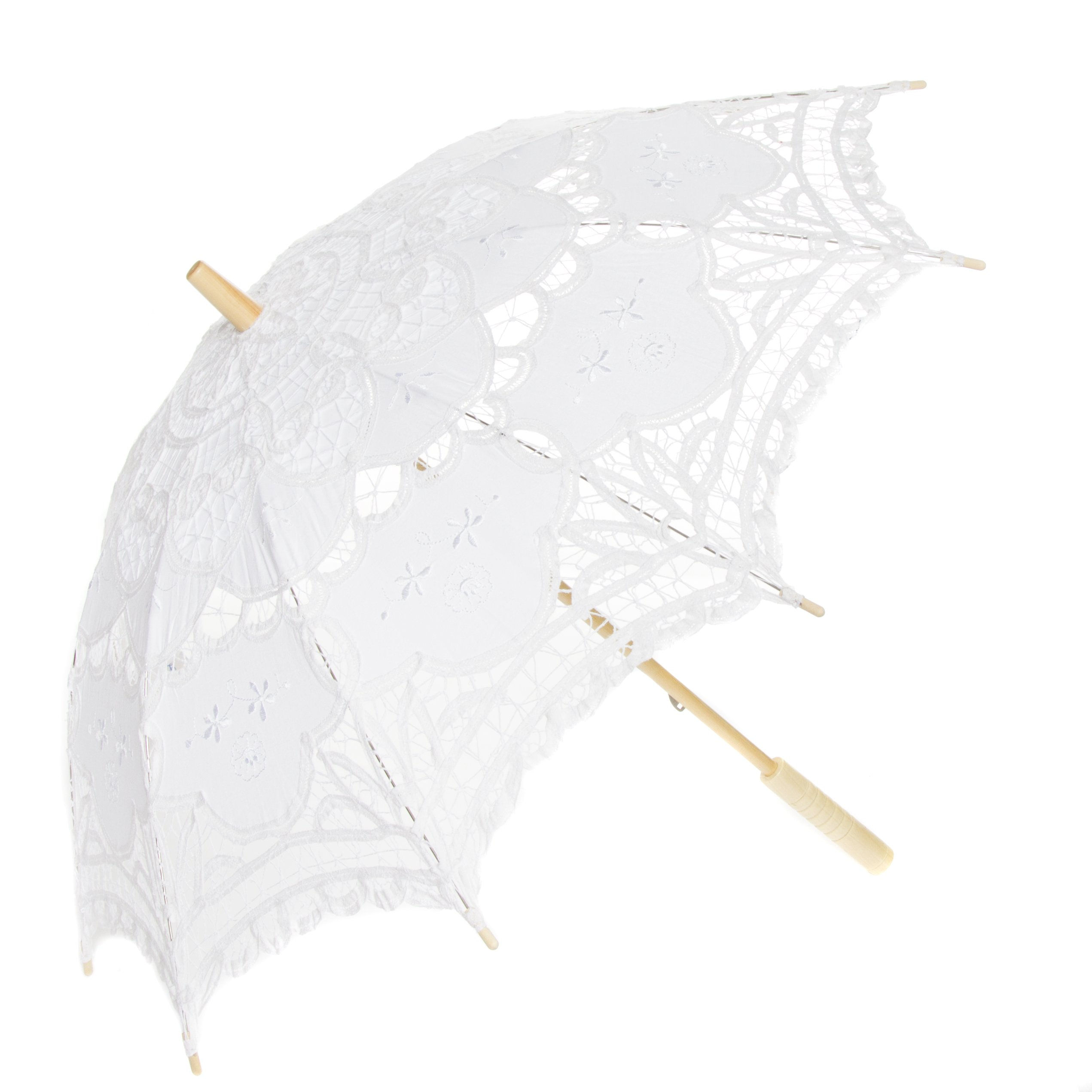 Leisureland Vintage Victorian Lace Parasol Umbrella White by Leisureland (Image #1)