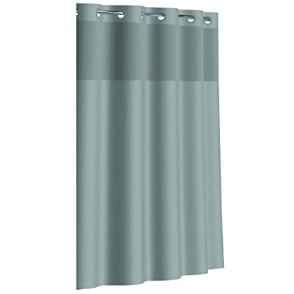Hookless Fabric Shower Curtain With Built In PEVA Liner Grey Dobby Pique