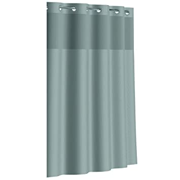 grey shower curtain liner. Hookless RBH80MY048 Fabric Shower Curtain with Built in PEVA Liner  Grey Dobby Pique Amazon com