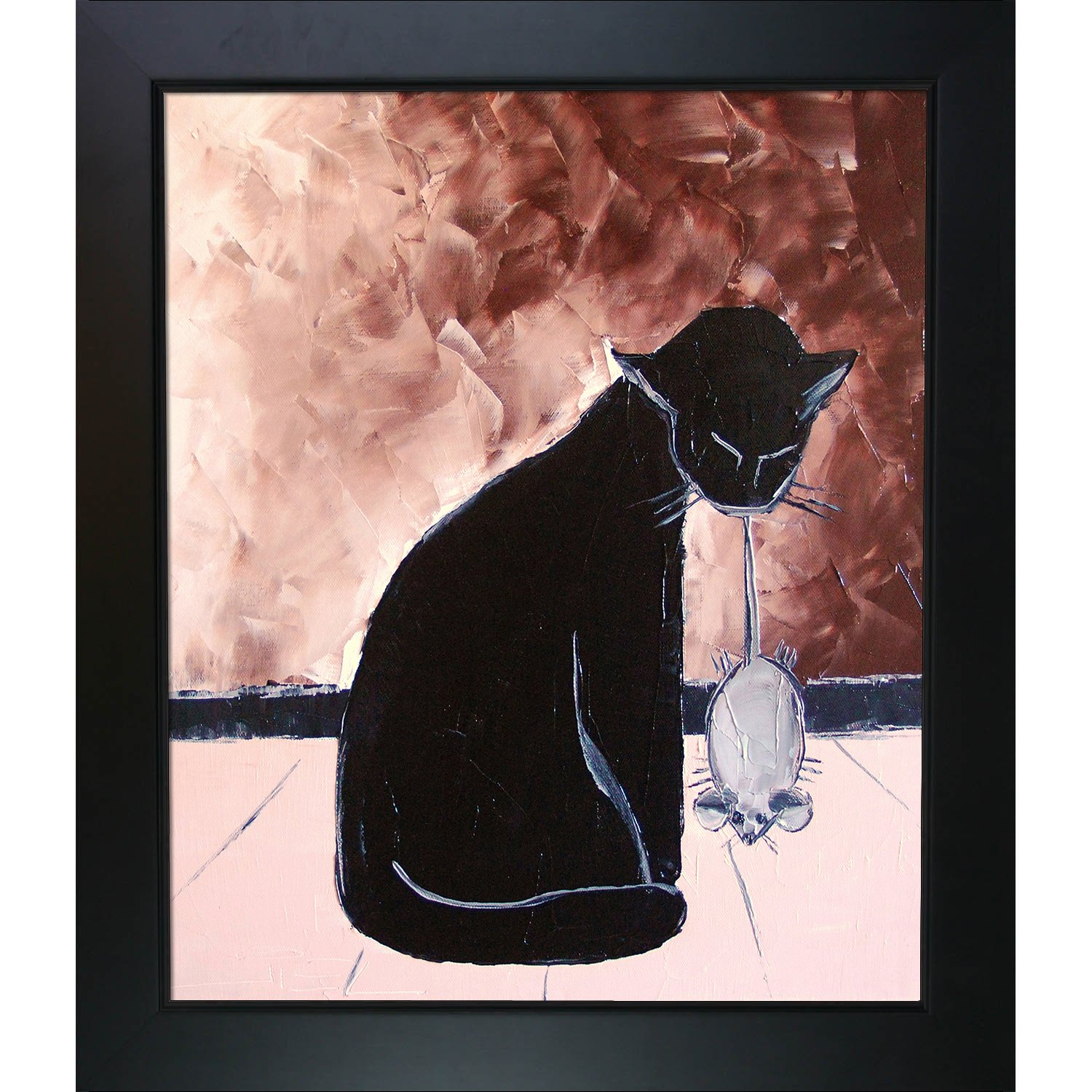 overstockArt ArtistBe Black Cat with His Mechanic Mouse by De Jiel with New Age Wood Frame Black