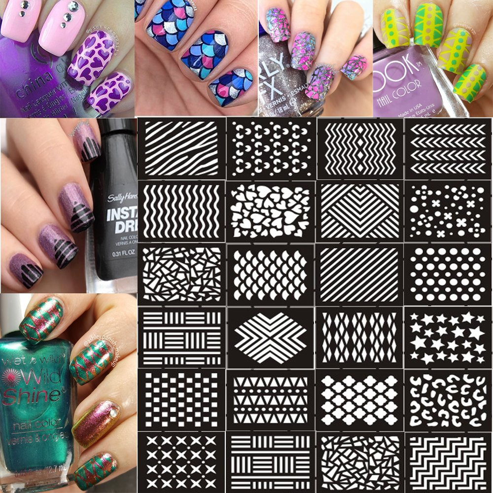 Amazon ejiubas 144 pieces 24 different designs nail vinyls amazon ejiubas 144 pieces 24 different designs nail vinyls nail stencil sheets easy nail art nail guides nail stickers set 12 sheets beauty prinsesfo Choice Image