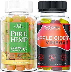 Bundle - Tacanna Ultra Hemp Gummies 90 Count Hemp Extract Relieve Stress - Apple Cider Vinegar Gummies Gluten Free - Immunity Boost Colon Cleanse Weight Watch