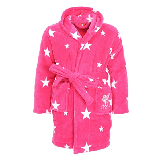 Amazon.com: Liverpool FC LFC Kids Girls Pink Hood Bathrobe Dressing ...