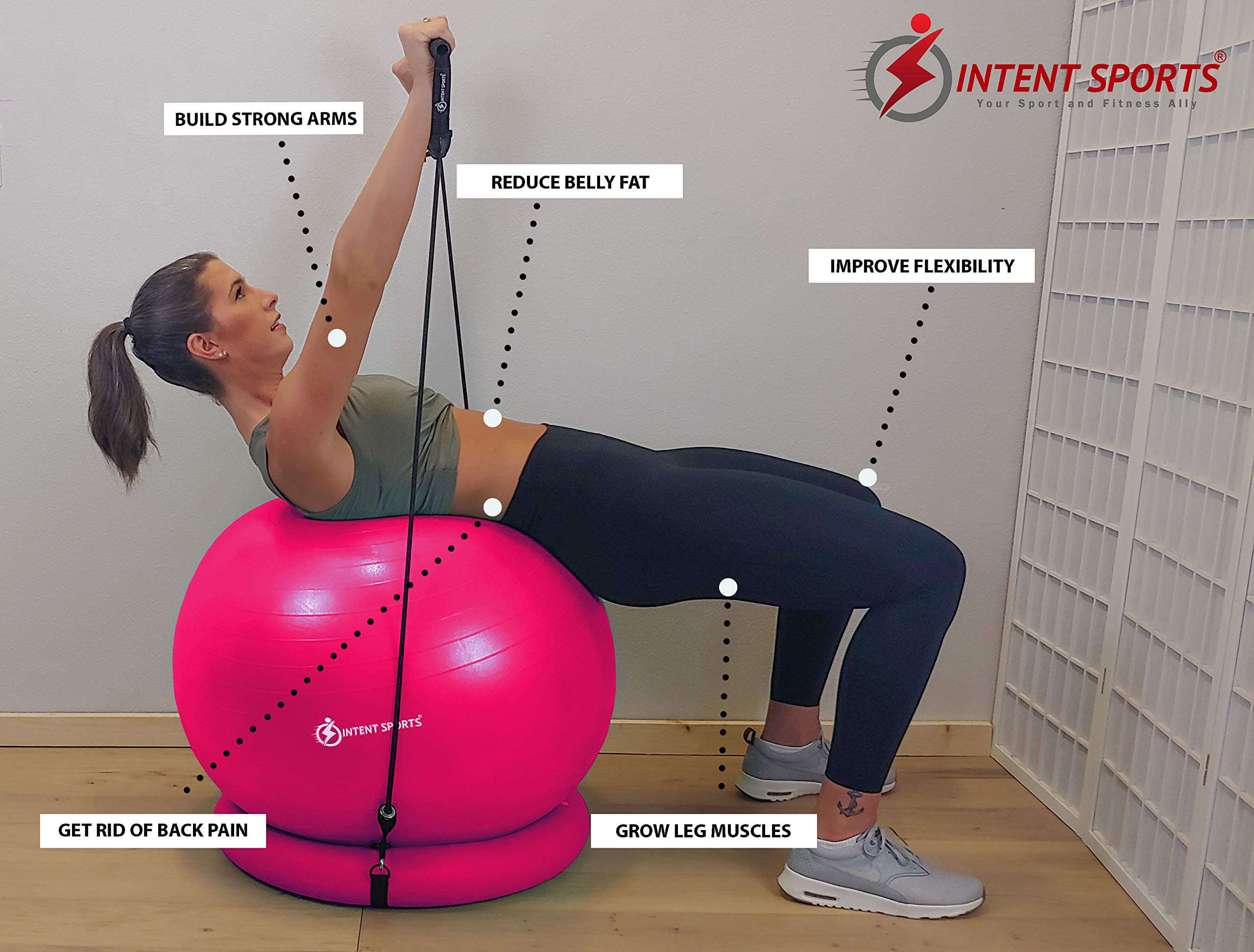 Stability Ball with Inflatable Stability Base & Resistance Bands