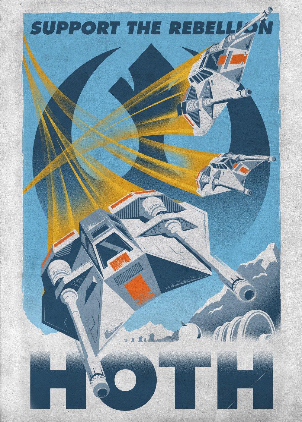 mural del cartel Soporte Star Wars metal La rebelión Hoth con 45x32cm imán adhesivo
