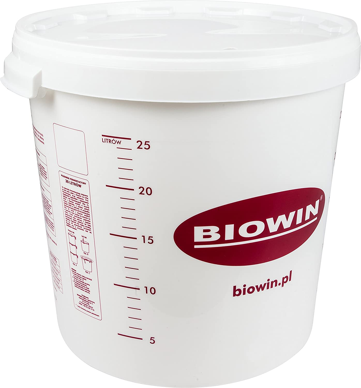 Fermentador de plástico de 30 litros con tapa, cubo de plástico para fermentación, depósito de fermentación, recipiente de plástico.