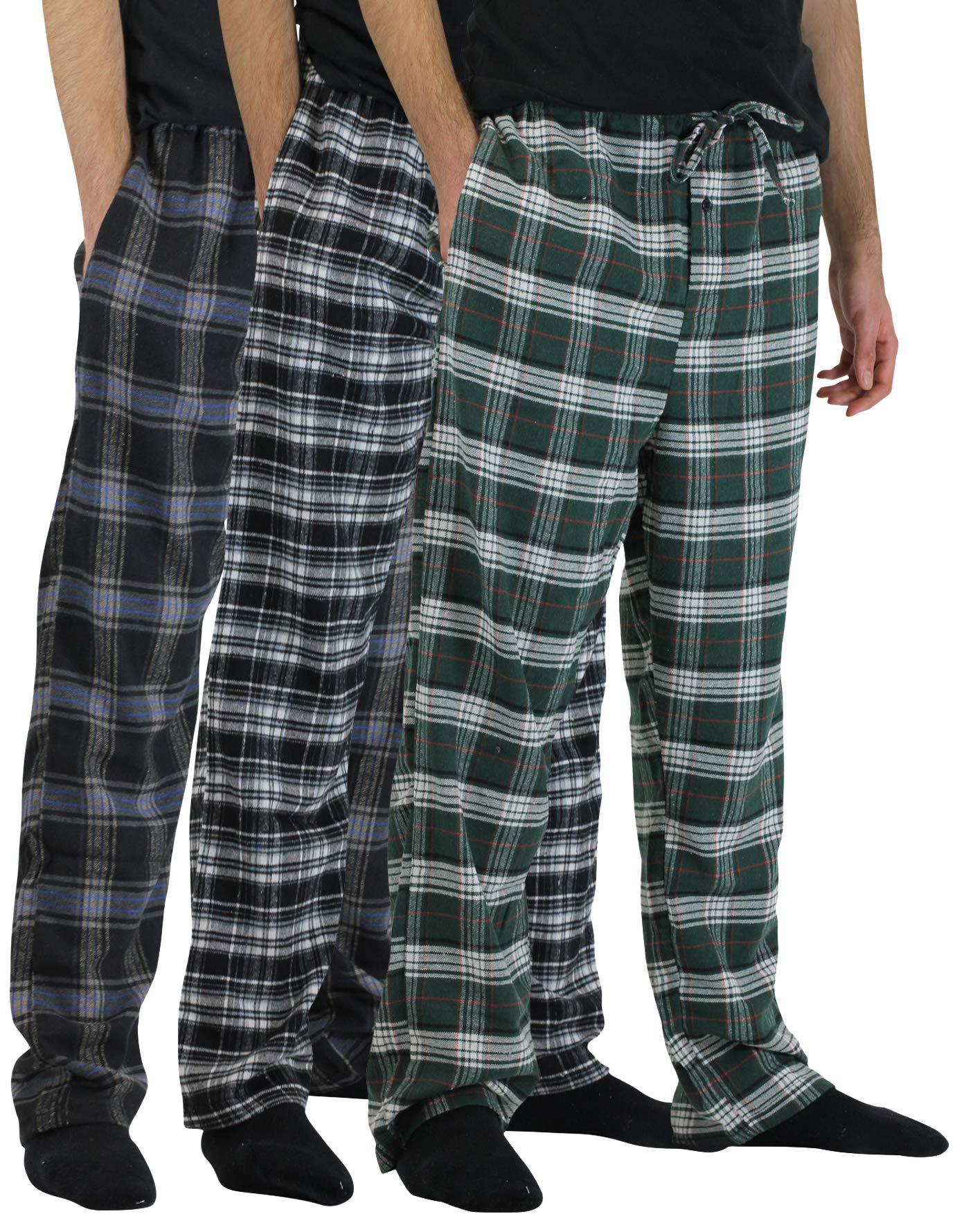 Real Essentials 3 Pack:Men's Cotton Super Soft Flannel Plaid Pajama Pants/Lounge Bottoms,Set 4-L by Real Essentials (Image #1)