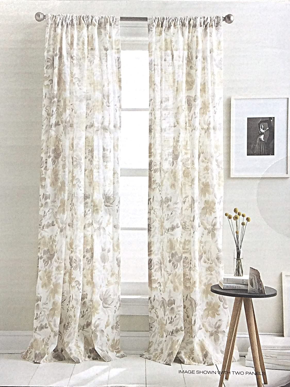 Com Dkny Watercolor Bouquet Fl Road Pocket Curtains 100 Cotton 2 Panels 50 By 96 Inch Set Of Window White Beige Tan Taupe