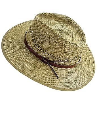 12273e9f8227a ... Strohhut Sommerhut Sonnenhut Modehut Cowboyhut Panamahut Gärtnerhut Hut  mit Ziergürtel für Männer (FI-16405-S17-HE0) inkl Hutfibel  Amazon.de  ...