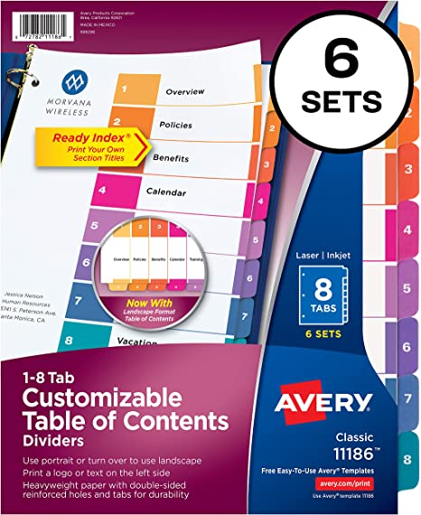 Avery big tab insertable dividers gold reinforced 30percent.