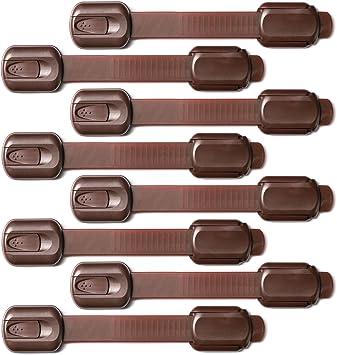 Sweet Safety®   Cierre De Seguridad Multiuso Niño y Bebé   Bloqueo de Armarios, Puertas, Cajones   Marrón   Pack 8: Amazon.es: Electrónica