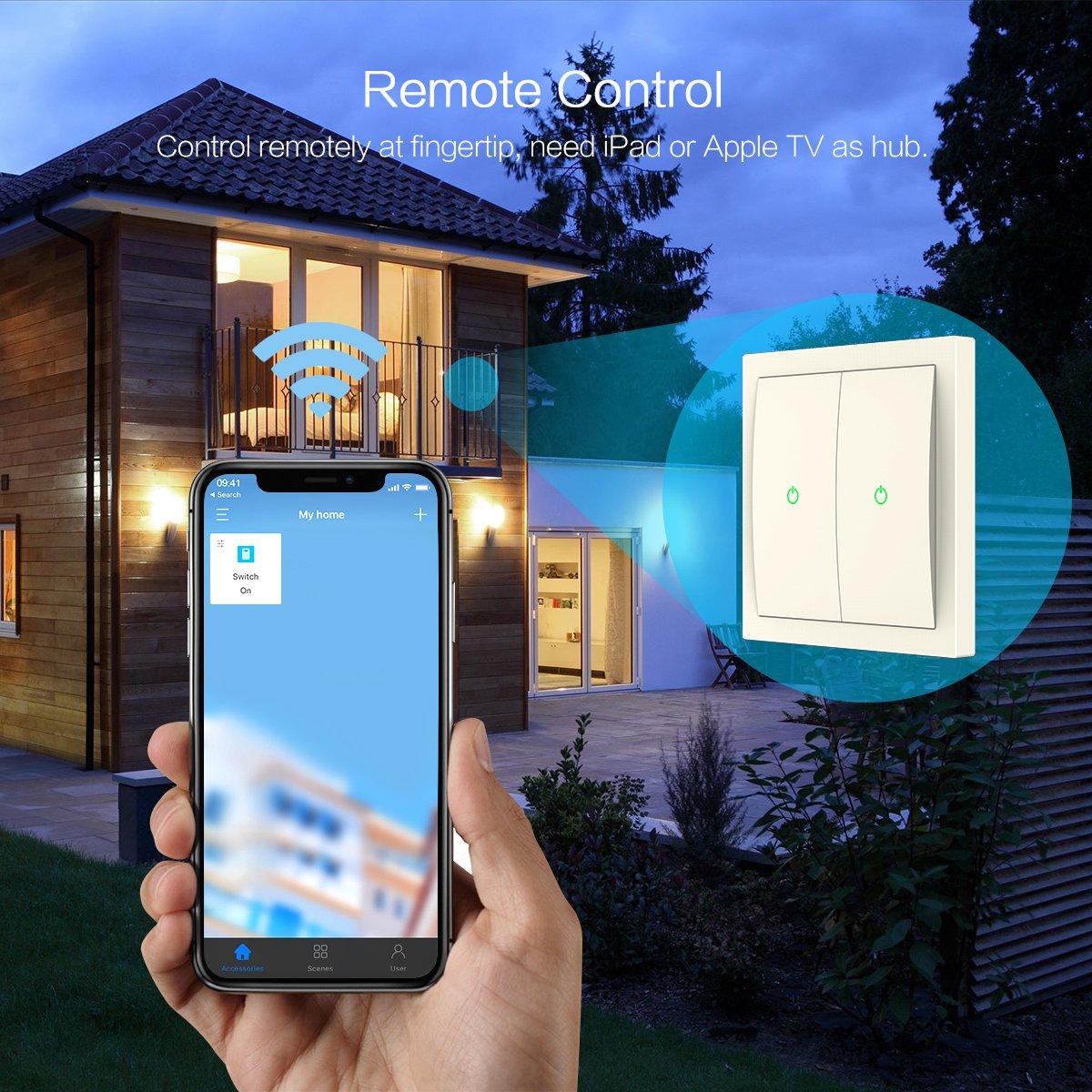 Koogeek Smart WiFi Light Switch Two Gang for Apple HomeKit with Siri ...