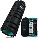 Foam Roller for Muscles, Back and Magic Physical Therapy (13x5 in) + FREE BAG w/ Zippered Pocket   High Density   Eco   Textured and Grid Revolutionary Device   Crossfit, Yoga & Pilates– ATISAR