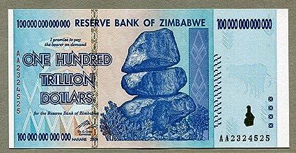 Banco de la Reserva de Zimbabwe billete de dólar $ - 100 Trillion Dollars: Amazon.es: Juguetes y juegos