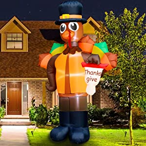 TURNMEON 10Ft Thanksgivings Inflatable Turkey Holding Thanks Give Flag LED Lights Large Air Blow Up Autumns Harvest Fall Thanksgivings Decorations for Home Outdoor Indoor Yard Lawn Garden