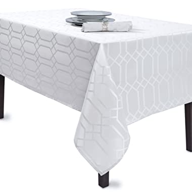 Benson Mills Solid Chagall Spillproof Fabric Tablecloth, 60X84, White