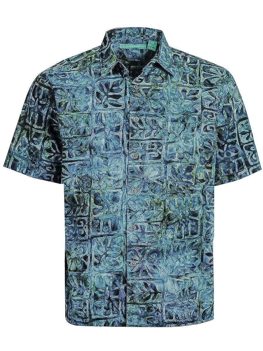 Artisan Outfitters Mens Moonstone Batik Cotton Hawaiian Shirt