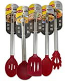 Glad Cooking Utensil Set, Five Utensils, Stainless Steel and Red Nylon, Up to 410 F