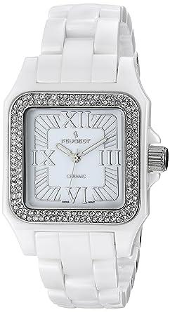 6c31df841 Peugeot Women's PS4897WT Swiss Ceramic Swarovski Crystal White Dial Watch