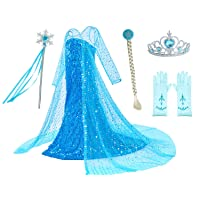 Luxury Princess Dress Costumes with Shining Long Cap Girls Birthday Party 2-10 Years