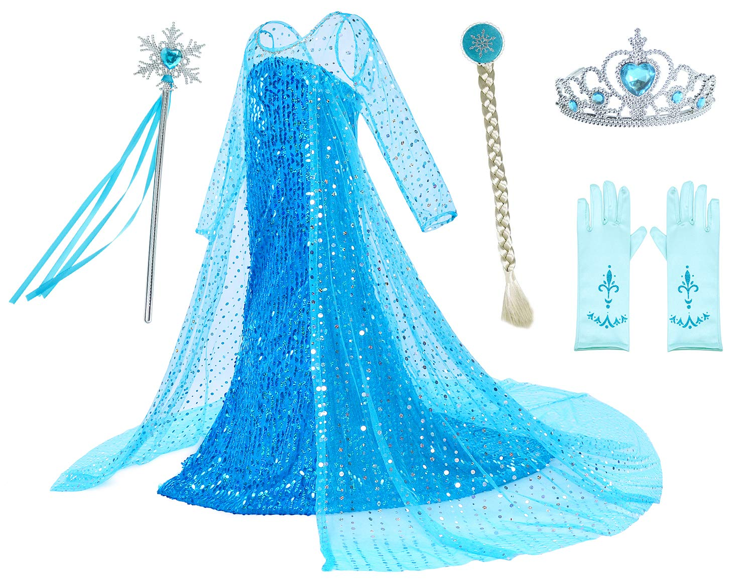 Luxury Princess Dress for Elsa Costumes with Shining Long Cap Girls Birthday Party 4T 5T