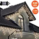 Icicle Lights 220 LED 7.5m Warm White Outdoor Christmas Lights Indoor String Fairy Lights Timer Memory Mains Powered 24ft Lit Length String Lights 10m/32ft Lead Wire Green Cable