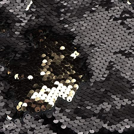 BlackGold  NewTwo Tone Flip up sequinsReversible Sequins Fabric by the yard