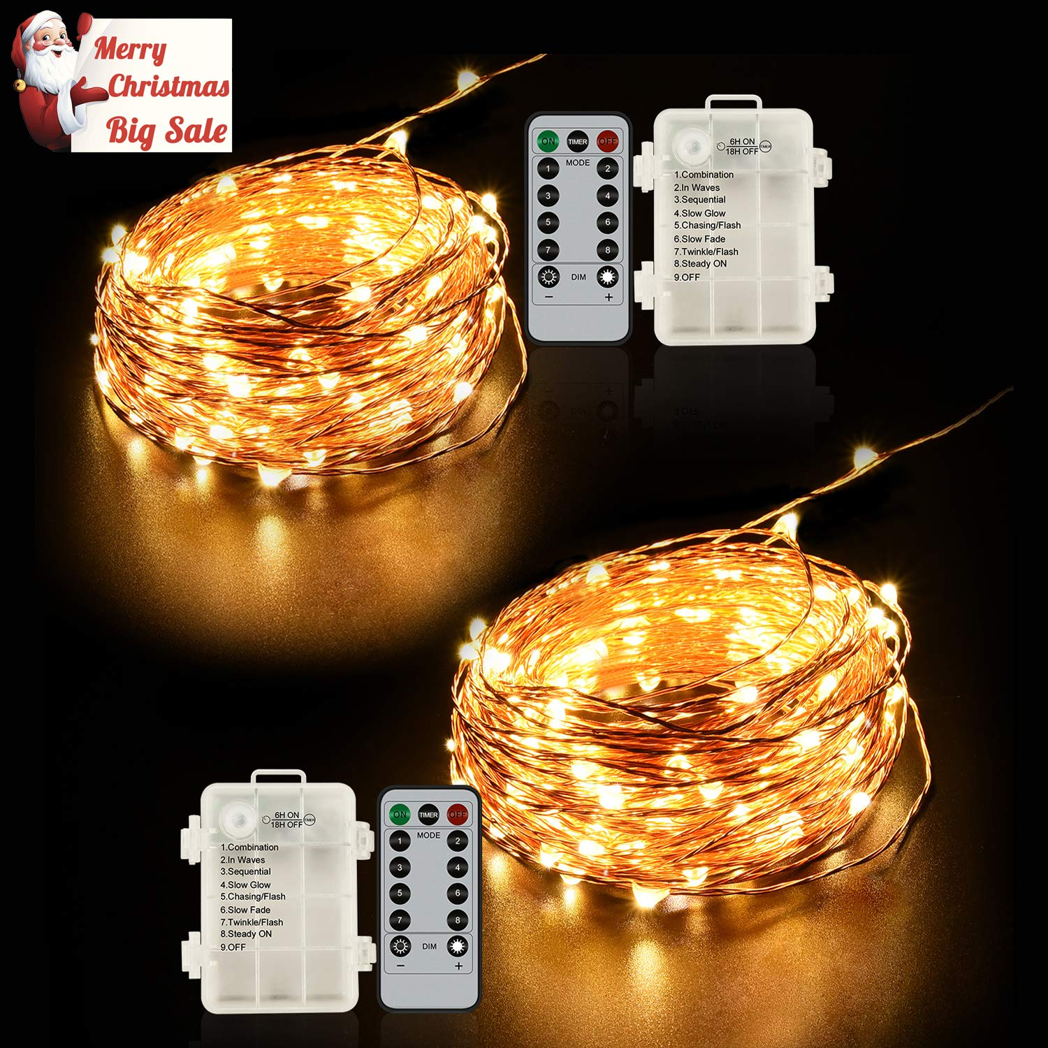 Ylife 2 Pack Fairy Light Battery Operated 16.4Ft 50 LED Waterproof Warm White String Lights 8 Modes Remote Control Decorative Copper Wire Lights for Festival Party