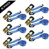 """ABN Ratchet Anchor Cargo Tie Down Straps, 1.5"""" Inch x 15' Foot, 2-Ton Capacity – Heavy Duty J-Hook Ratcheting Kit 6-Pack"""