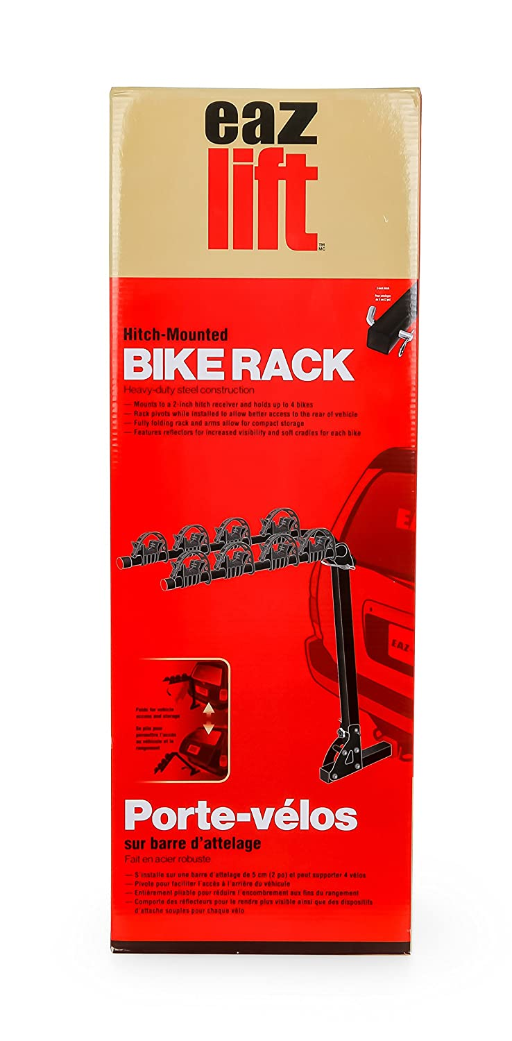 """EAZ LIFT Foldable Bicycle Rack with Reflectors-Mounts to a 2/"""" Hitch Receiver to Hold Up to 4 Bikes at Once Durable Steel Structure 51493"""