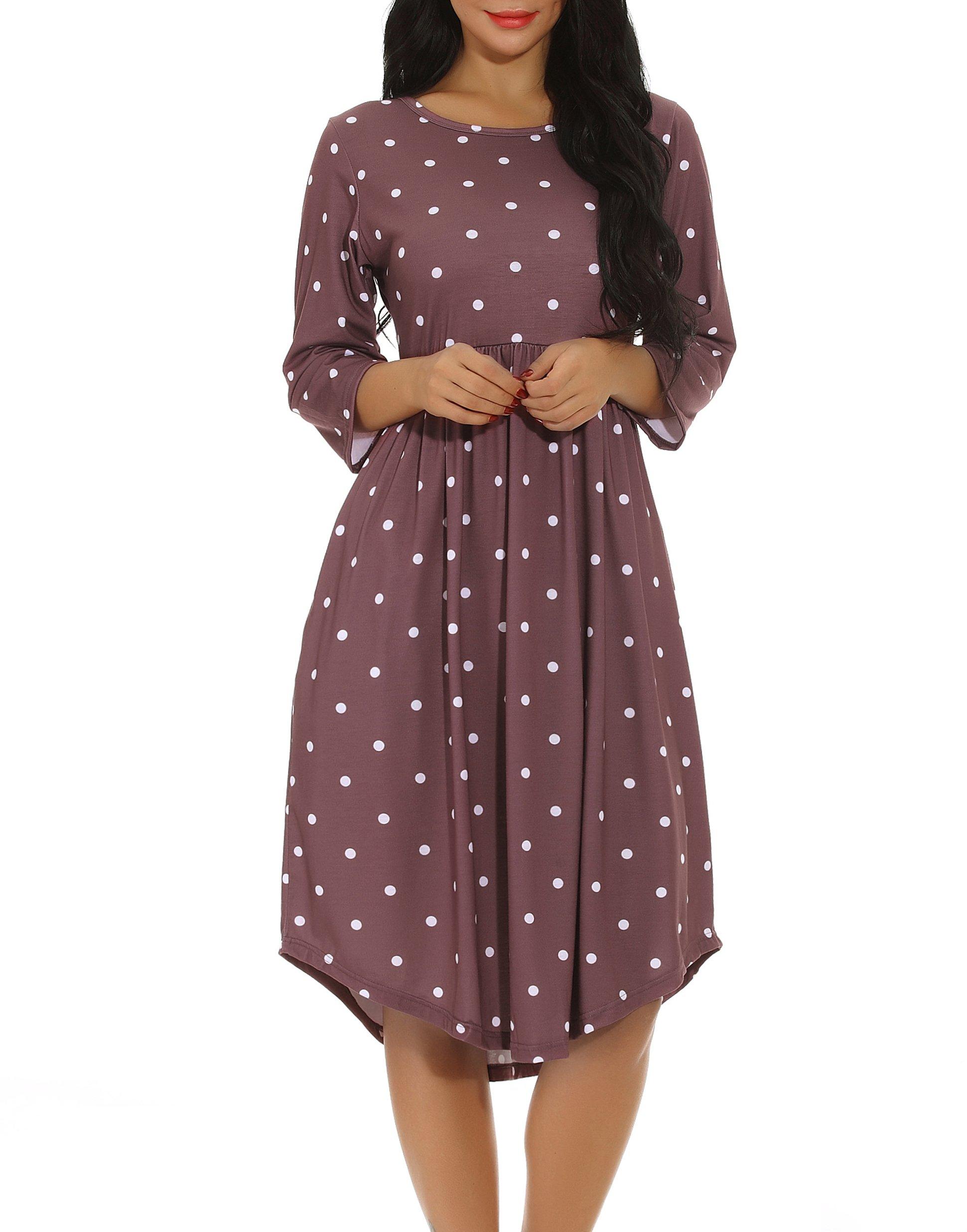 Chvity Women 3/4 Sleeve Pleated Polka Dot Loose Swing Midi Dress Empire Waist Casual Dress with Pocket (Coffee, S)