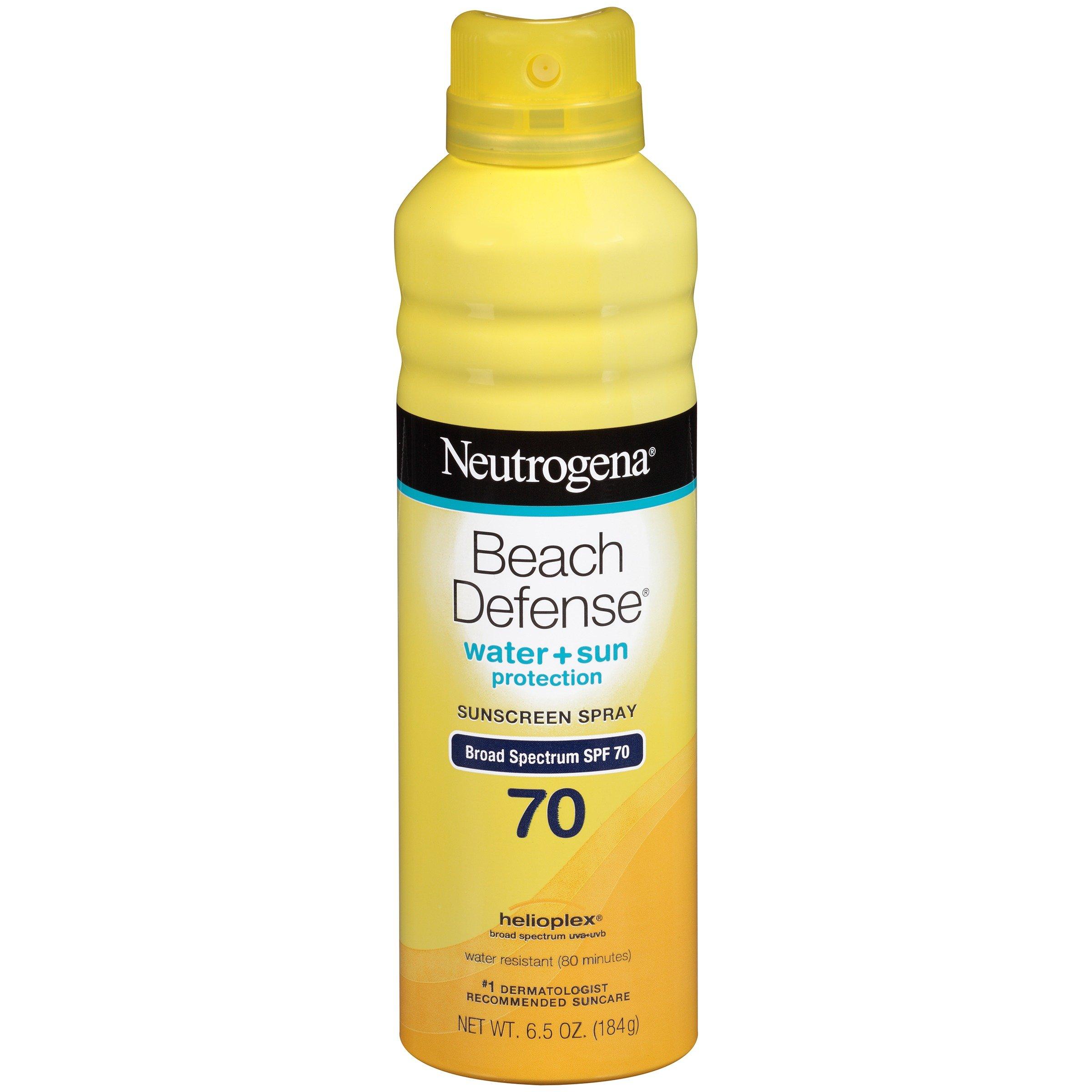 Neutrogena Beach Defense Spray Sunscreen Broad Spectrum SPF 70, 6.5 Ounce (Pack Of 3)
