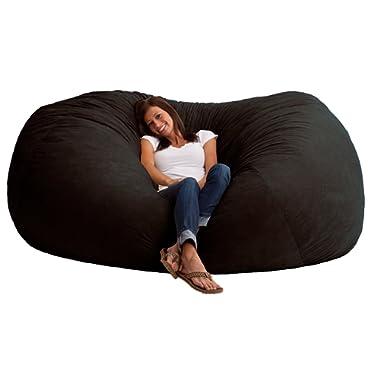 Big Joe 0001178 XXL Fuf Black Onyx Comfort Suede Foam Filled Bean Bag,