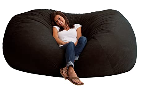 Big Joe XXL Fuf Foam Filled Bean Bag Chair Comfort Suede Black Onyx