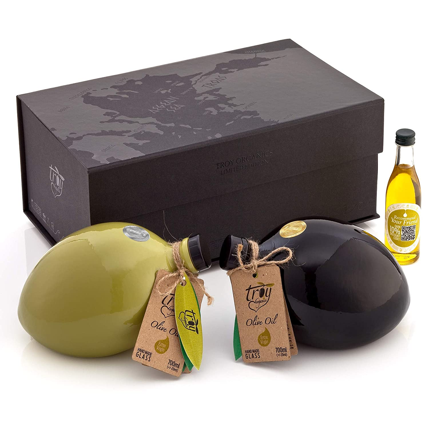 Troy Organics | Olive Oil Gift Set, Extra Virgin, Organic, First Cold Press (2020 Limited Edition) | Early Harvest, %100 Pure, Handmade Glass, Set of 2 - Filtered & Unfiltered - (total 45.60 Fl. Oz.)