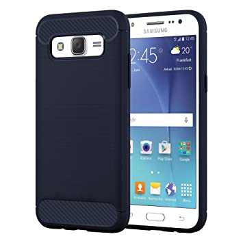 Cadorabo Carcasa Compatible con Samsung Galaxy J5 2015 (5) móvil en Brushed Azul Funda Carcasa de TPU Silicona en Acero Inoxidable de Carbono Fibra ...
