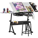 "Studio Designs Modern Fusion Craft Center with 24"" Tray and Stool, Charcoal/White"