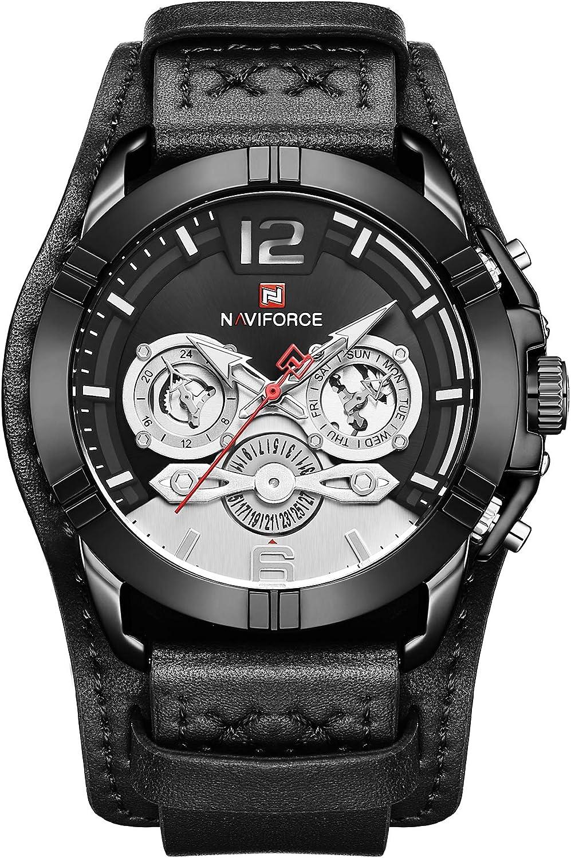 Naviforce - Reloj de Pulsera para Hombre, Correa de Piel, Calendario, visualización de Fecha