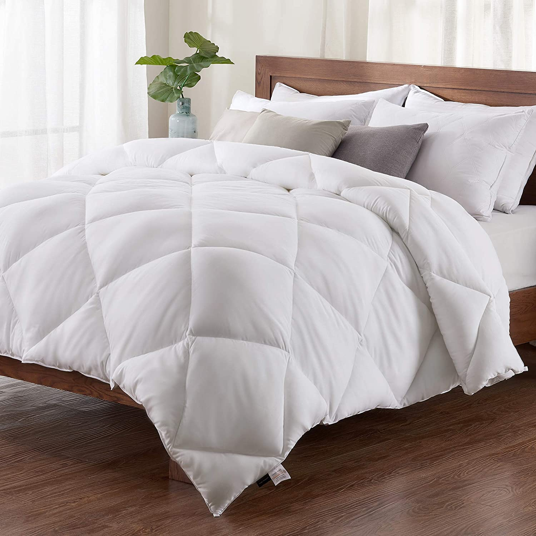 Basic Beyond Down Alternative Comforter - All-Season White Quilted Down Duvet Insert Hypoallergenic Plush Microfiber Fill, Corner Duvet Tabs, King Size Baisc Beyond