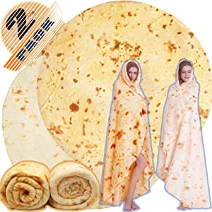 Innocedear Burritos Blanket,2 Pack Double Side Flannel Tortilla Blanket 71 inches,Comfortable Soft Novelty Giant Taco Blanket,Funny Gag Gifts for Adults&Kids-Style 3