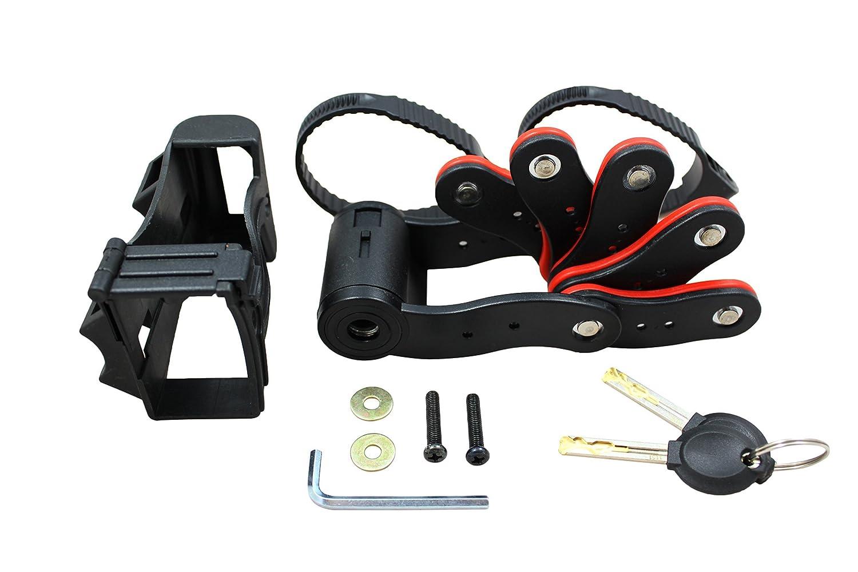 –Candado plegable con llave, candado con soporte y dos llaves de bicicleta, incl. Soporte | Candado rojo y negro., Schwarz & Rot Karl Drais
