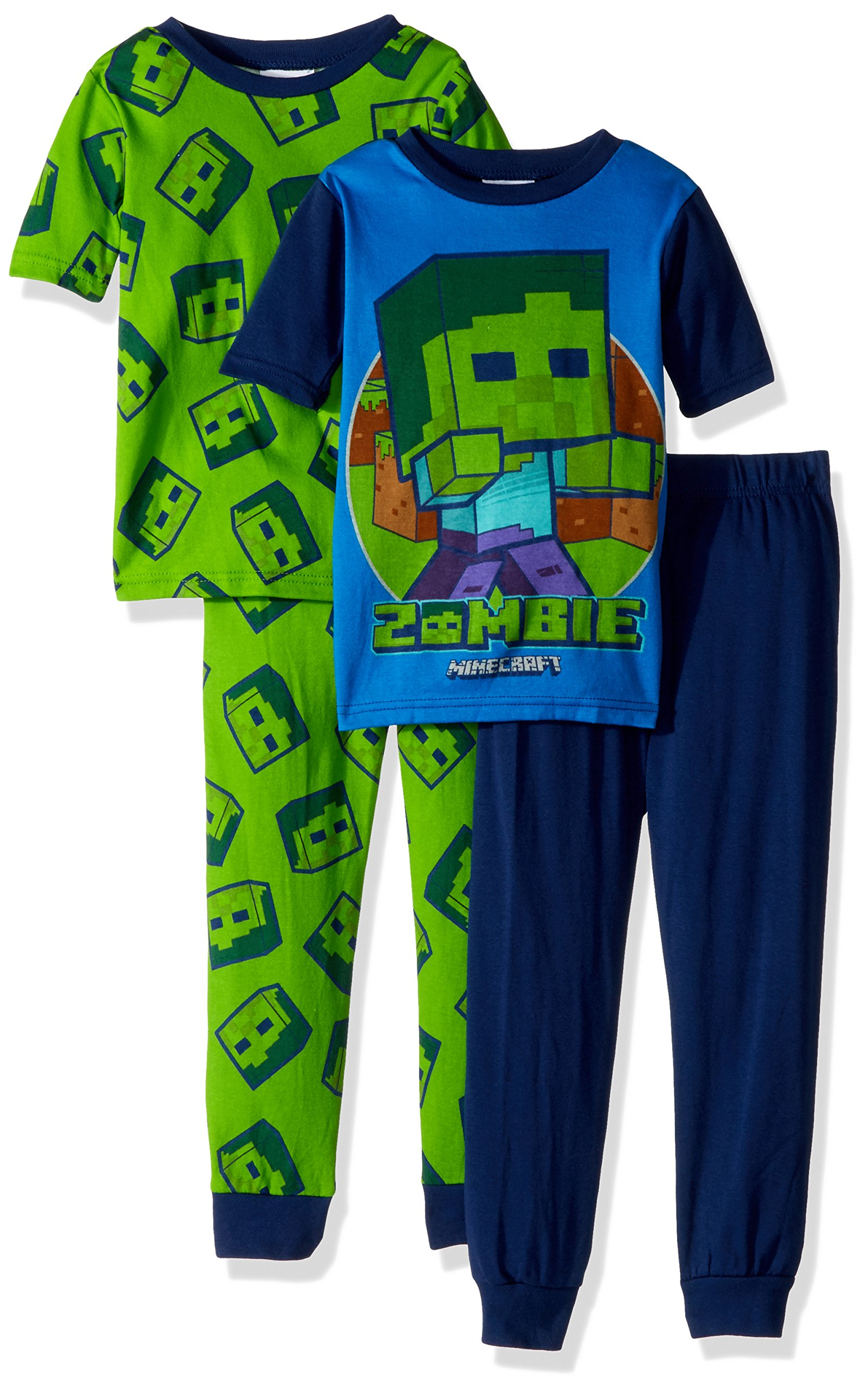 Minecraft Big Boys' Gamer 4-Piece Cotton Pajama Set, Gamer Green, 10