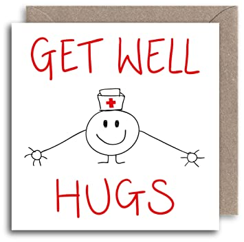 funny get well soon card humour greeting card hugs illustration