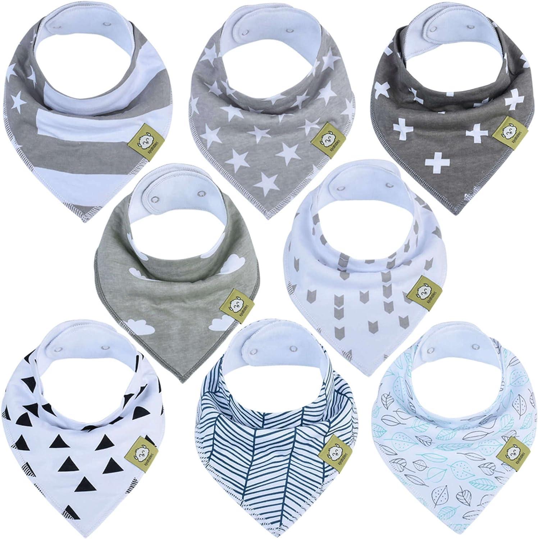 Bavoirs bandanas pour bébés-Bavoirs bandanas KeaBabies pour garçons et filles - Bavoirs bandanas ultra absorbants- Bavoirs pour bébé qui fait ses dents (Grayscape)