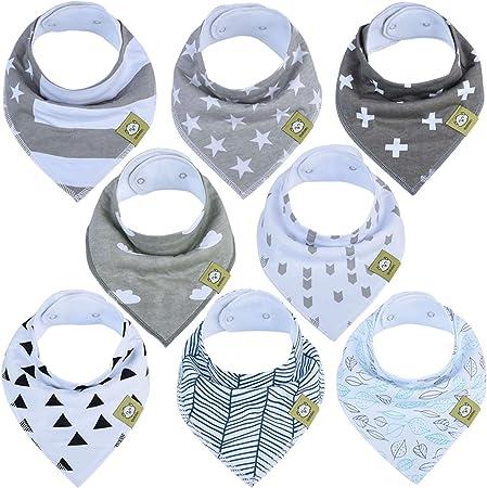 PRÁCTICOS Y SUPER ABSORBENTES - Nuestros elegantes baberos tipo bandana para bebé presentan un diseñ